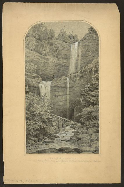 "High fall on the Catskills / from nature by ""James Queen"" draughtsman for P.S. Duvals Lithographic Establ."