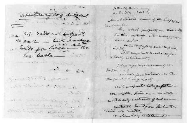 James Madison, December 7, 1850. Notes on the settlement of Dolley P. Madison estate.