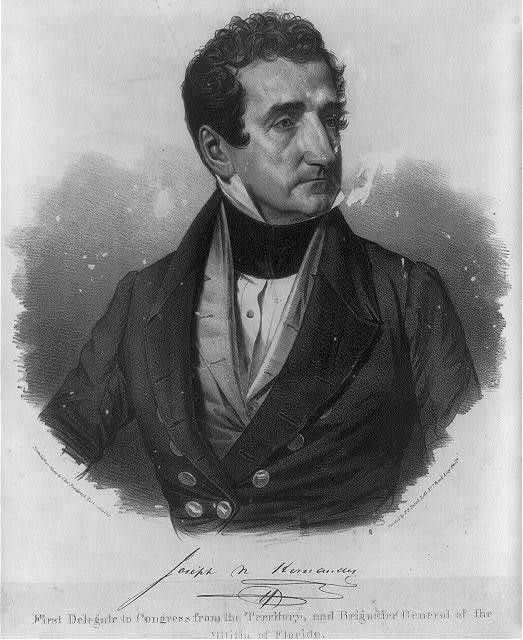 Joseph N Hernandez, First Delegate to Congress from the Territory, and Brigadier General of the Militia of Florida / from life on stone by Chas. Fenderich, Washington City.
