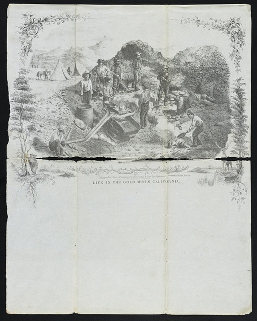 Life in the gold mines, California ; / Lithographed from a photograph by Fishbourne & Gow, San Francisco.