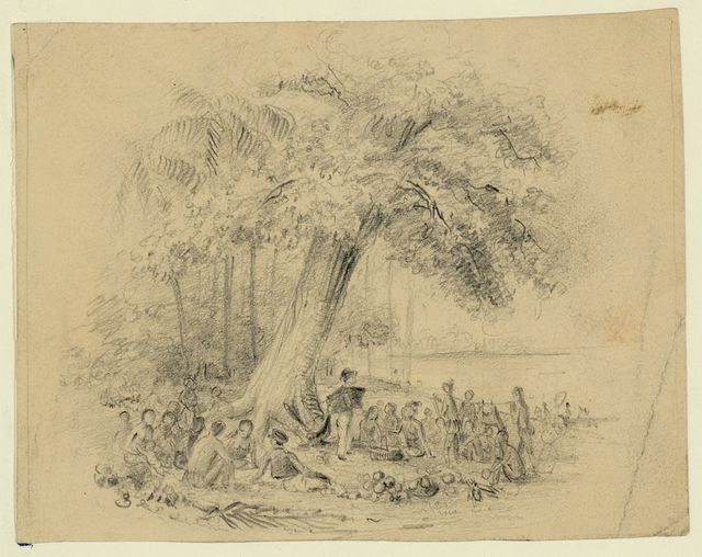 [Man lecturing native people under a tree]