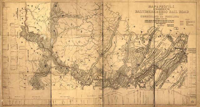 Map & profile of the location of the Baltimore & Ohio Rail Road from Cumberland to Wheeling showing also the various routes surveyed from the 1836 to the final establishment in 1850 of the line upon which the road is being constructed; Benj. H. Latrobe, Chief Engineer; drawn by Albert Fink, Baltimore 1850.