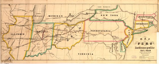Map of Peru and Indianapolis Rail Road with connections.