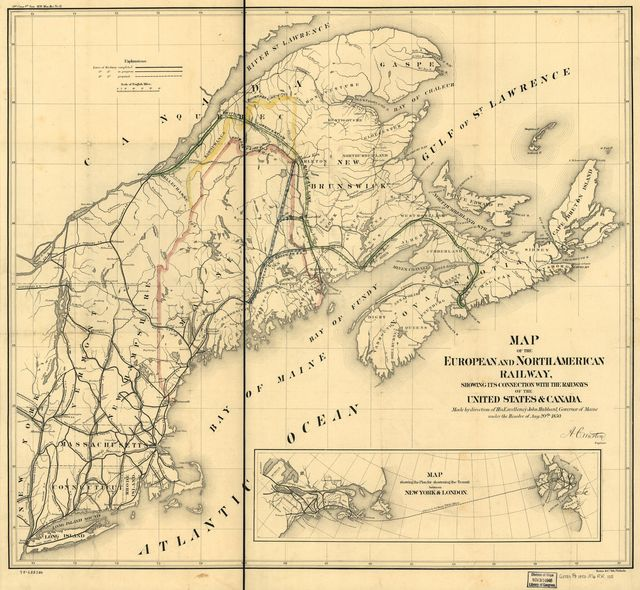 Map of the European and North American Railway, showing its connection with the railways of the United States & Canada; made by direction of His Excellency John Hubbard, Governor of Maine under the resolve of Aug. 20th 1850.