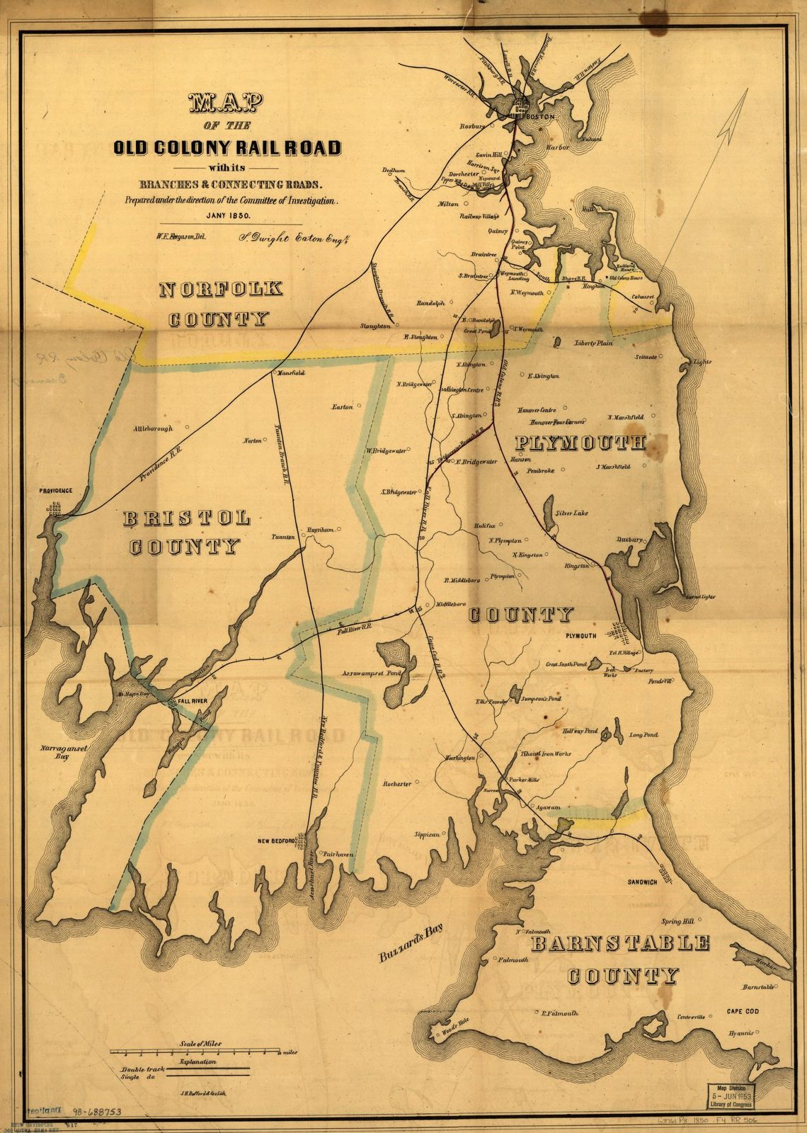 Map of the Old Colony Rail Road with its branches & connecting roads, prepared under the direction of the Committee of Investigation, Jany. 1850, S. Dwight Eaton, Engr.