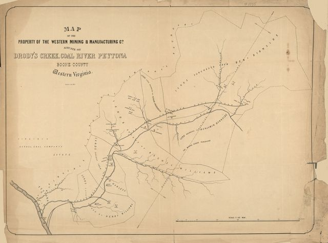 Map of the property of the Western Mining & Manufacturing Co. situate on Drody's Creek, Coal River Peytona, Boone County, Western Virginia /