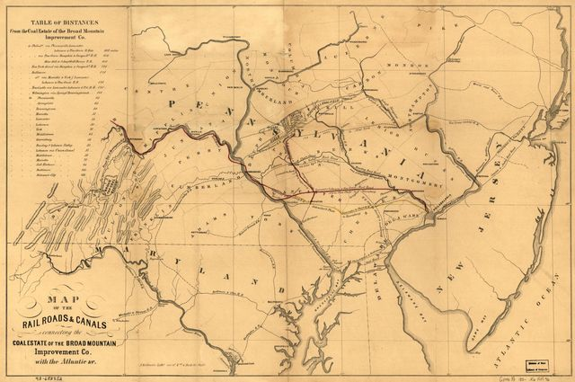 Map of the railroads & canals connecting the coal estate of the Broad Mountain Improvement Co., with the Atlantic &c.
