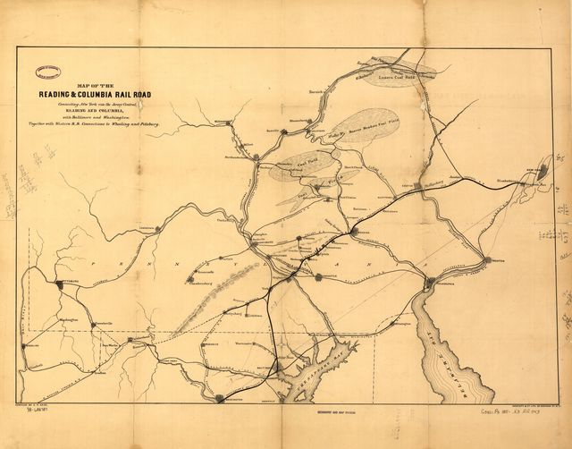 Map of the Reading & Columbia Rail Road connecting New York via the Jersey Central, Reading and Columbia, with Baltimore and Washington, together with Western R.R. connections to Wheeling and Pittsburg [sic]; compiled by S. P. Kase.