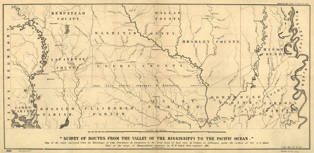 Map of the route surveyed from the Mississippi at Lake Providence in Louisiana to the great bend of Red river at Fulton in Arkansas /
