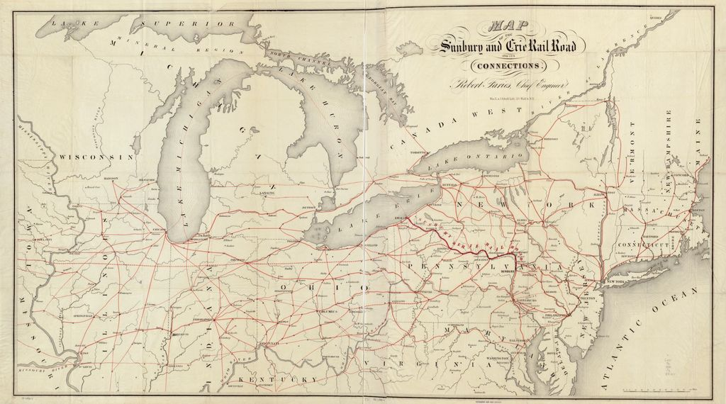 Map of the Sunbury and Erie Rail Road and its connections look