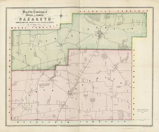 Map of the townships of Upper and Lower Nazareth, Northampton County, Pennsylvania /