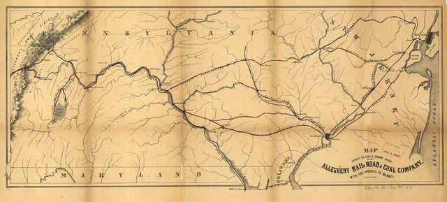 Map showing the coal & timber lands of the Allegheny Rail Road & Coal Company with the avenues to market.