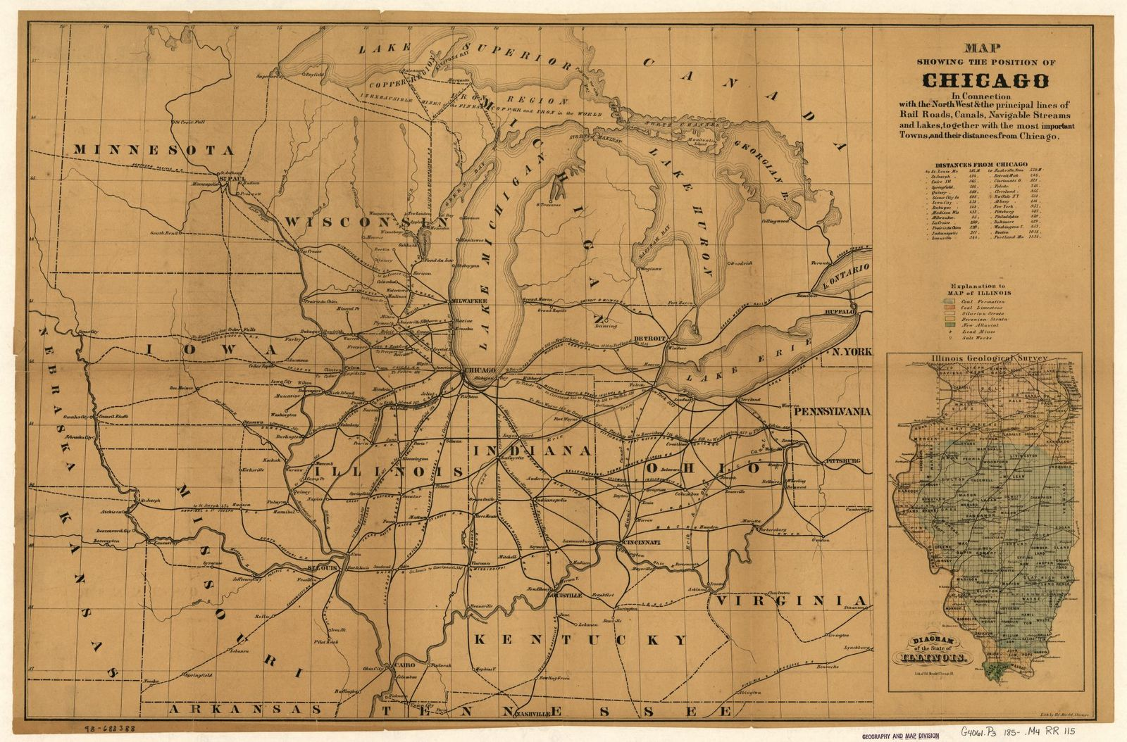 Map showing the position of Chicago in connection with the North West & the principal lines of rail roads, canals, navigable streams and lakes, together with the most important towns, and their distances from Chicago.