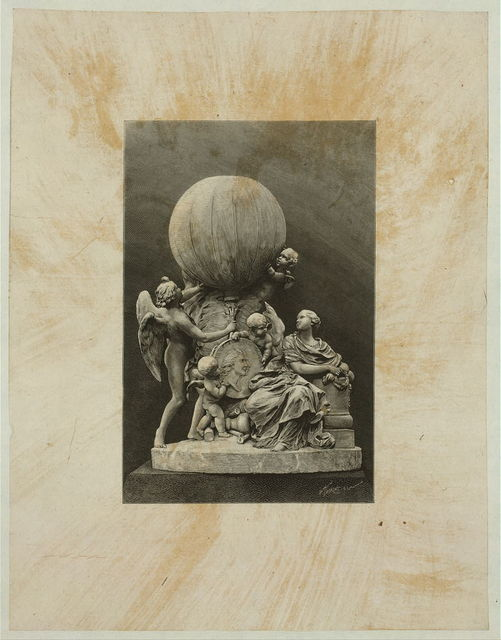 [Model of a statue dedicated to French balloonists, Joseph and Etienne Montgolfier, featuring a double profile portrait from a gold medal designed by Houdon and an inflated balloon] / H. Thiriat, sc.
