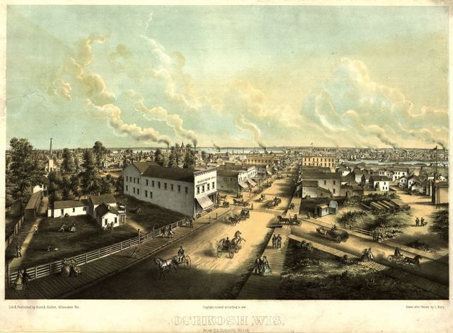 Oshkosh, Wis. From H.L. Cottrill's Block / / lith. & published by Kurz & Seifert, Milwaukee, Wis. ; drawn after nature by L. Kurz.