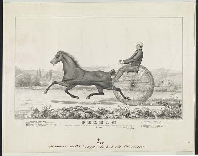Pelham: July 2nd, 1849 trotted one mile in harness, over the Centreville course carrying 175 lbs, in 2:28