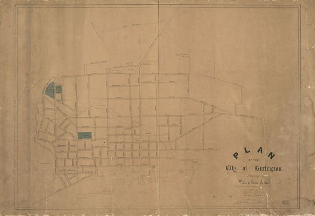 Plan of the city of Burlington shewing [i.e. showing] water & sewer service.