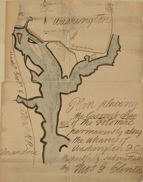 Plan placing the current channel of the Potomac permanently along the wharves of Washington D.C. /