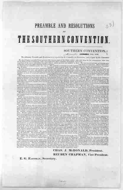 Preamble and resolutions of the Southern convention. November 18th, 1850.