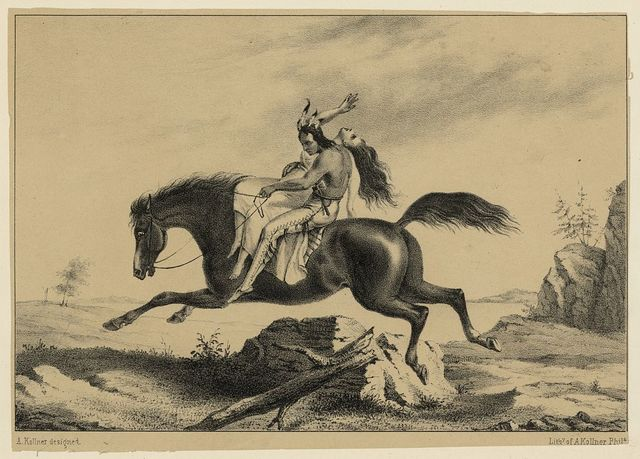[Print speciman of American Indian man on horseback with struggling Caucasian woman] / A. Kollner designed ; Lithy of A. Kollner, Phila.