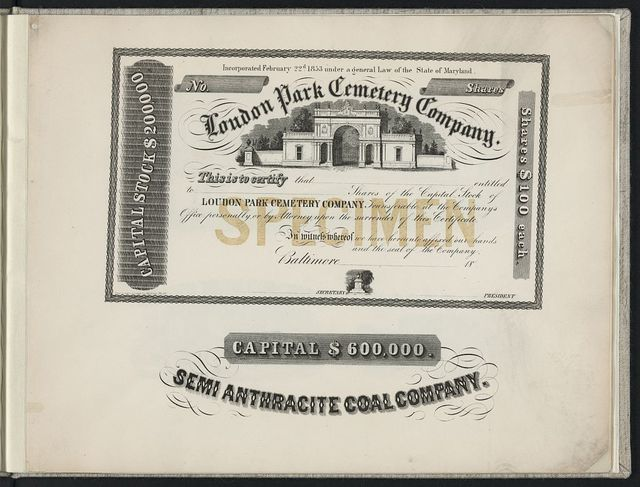 [Print speciman of stock certificate for Loudon Park Cemetery Company and letterhead for Semi Anthracite Coal Company] / Engraved & printed by A. Kollner, Phila.