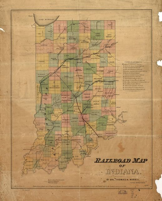 Railroad map of Indiana, by Col. Thomas A. Morris, Civil Engineer,