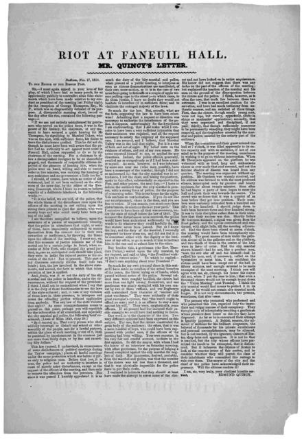 Riot at Faneuil Hall. Mr. Quincy's letter. Dedham, Nov. 17, 1850.