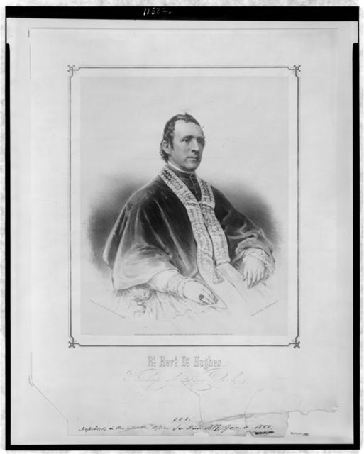 Rt. Revd. Dr. Hughes, Bishop of New York / drawn on stone by Hoffmann from a dagtype. ; printed by Nagel & Weingärtner, N.Y.