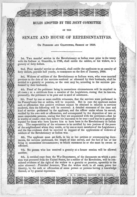 Rules adopted by the Joint committee of the Senate and House of representative, on pensions and gratuties, Session of 1850 ... J. M.G. Lescure, Printer to the State.