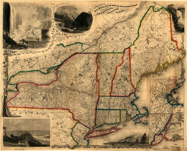 Sherman & Smith's railroad, steam boat & stage route map of New England, New-York and Canada.