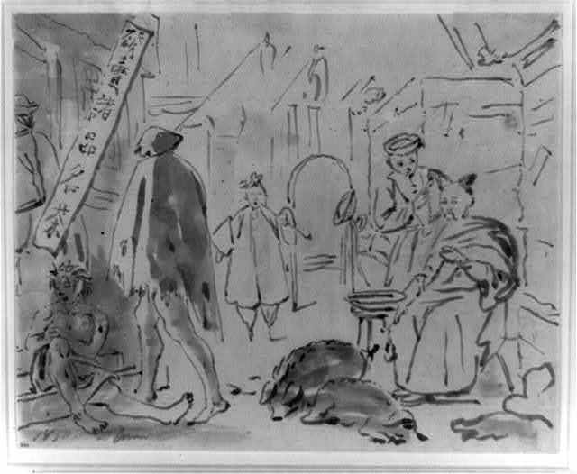 [Sketch showing a street scene in front of a tea house, with a barber at right, two pigs asleep in the street, and men entering the tea house on the left; includes Chinese language characters on sign advertising teas]