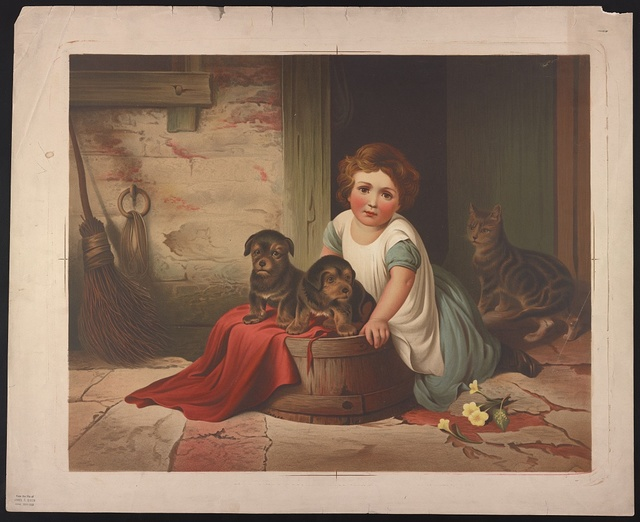 [Small girl leaning against an overturned wash tub on which two puppies have been placed; a cat stands in the doorway, alert, behind them]