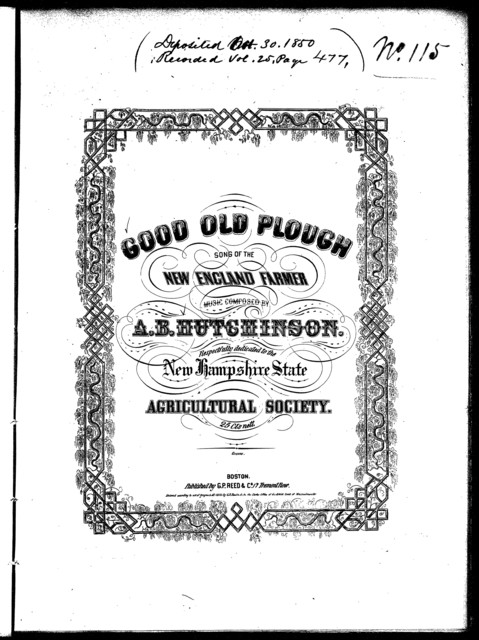 The  good old plough, song of the New England farmer