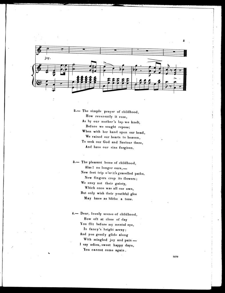 The  happy days of childhood, ballad