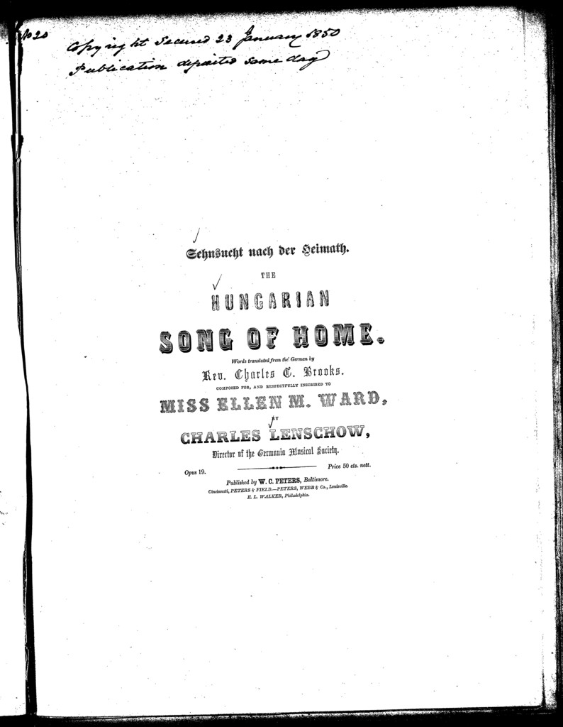 The  Hungarian's song of home, op. 19