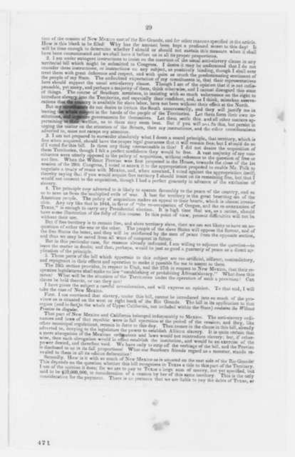 Truman Smith, Monday, July 08, 1850  (Printed Pamphlet on Compromise of 1850)