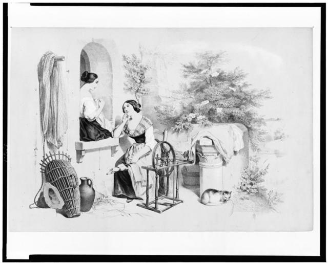 [Two women conversing, one seated on window sill stitching cloth, the other seated by spinning wheel with a distaff in one hand]