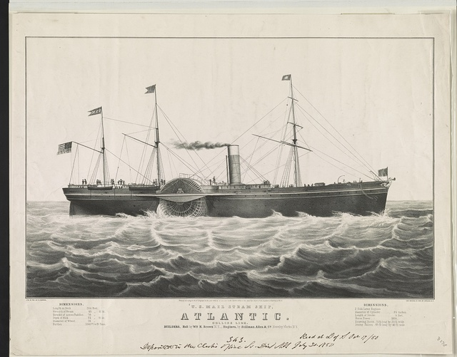 U.S. mail steam ship, Atlantic: Collins line. builders, hull by Wm. H. Brown N.Y.--engines, by Stillman Allen & Co. Novelty Works N.Y.