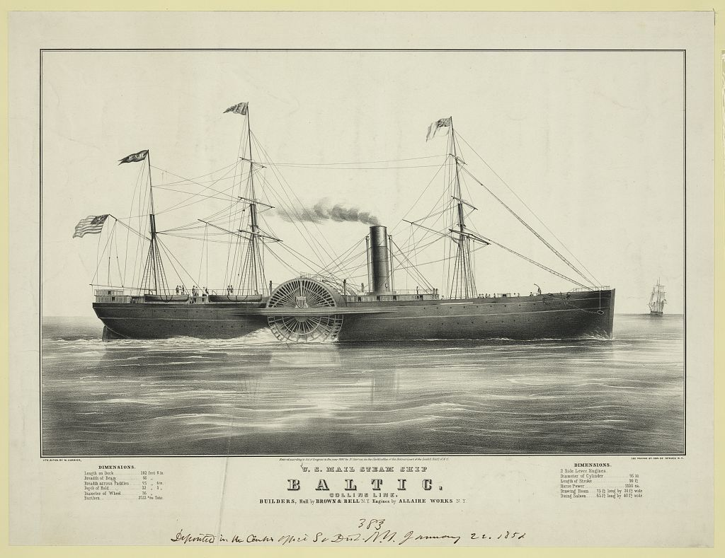 U.S. mail steam ship Baltic: Collins line. builders, hull by Brown & Bell N.Y. engines by Allaire Works N.Y.