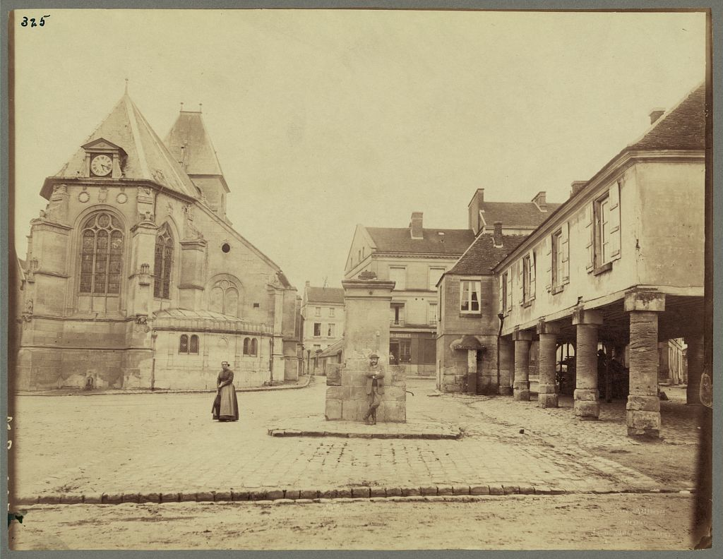 [View of  13th century church and 16th century town square and town hall in Neuilly-en-Thelle, France]