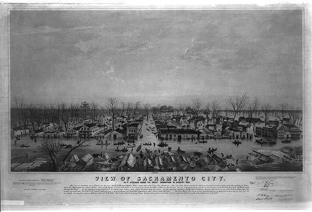 View of Sacramento City as it appeared during the great inundation in January 1850 / / drawn from nature by Geo. W. Casilear & Henry Bainbridge ; lith. of Sarony, New York.