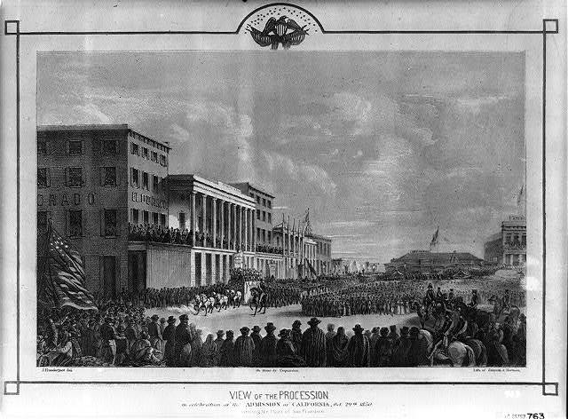 View of the procession in celebration of the admission of California, Oct. 19th, 1850. Crossing the Plaza of San Francisco. / Lith. of Zakreski & Hartman. On stone by Coquardon. J. Prednergast, del.