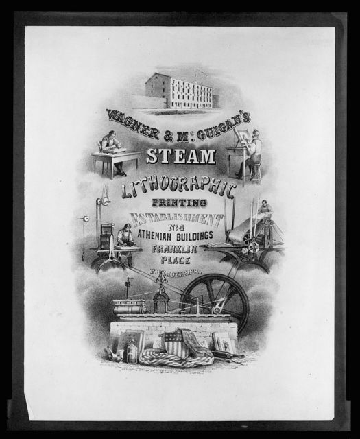 Wagner & McGuigan's Steam Lithographic Printing Establishment, No. 4 Athenian Buildings, Franklin Place, Philadelphia