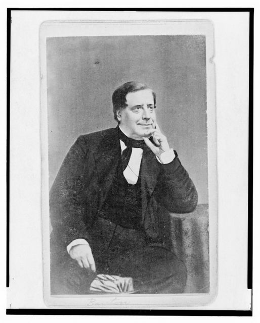 [William E. Burton, actor and theatrical impresario, three-quarter length portrait, seated, facing right]