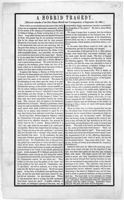 A horrid tragedy. Editorial remarks of the Port Gibson Herald and Correspondent, of September 12, 1851. [Regarding the murder of Dr. Jeremiah Chamberlain, President of Oakland College].