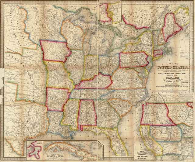 A new map of the United States. Upon which are delineated its vast works of internal communication, routes across the continent &c. showing also Canada and the Island of Cuba,