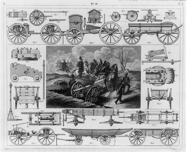 [Artillery wagons, caissons, travelling forges. ca. 1850; various illus. surrounding scene of horse-drawn field gun and caisson being moved into position]