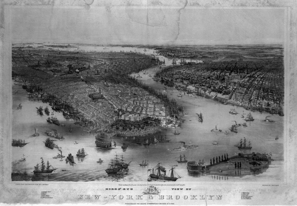 Bird's eye view of New-York & Brooklyn / drawn from nature & on stone by J. Bachman[n].