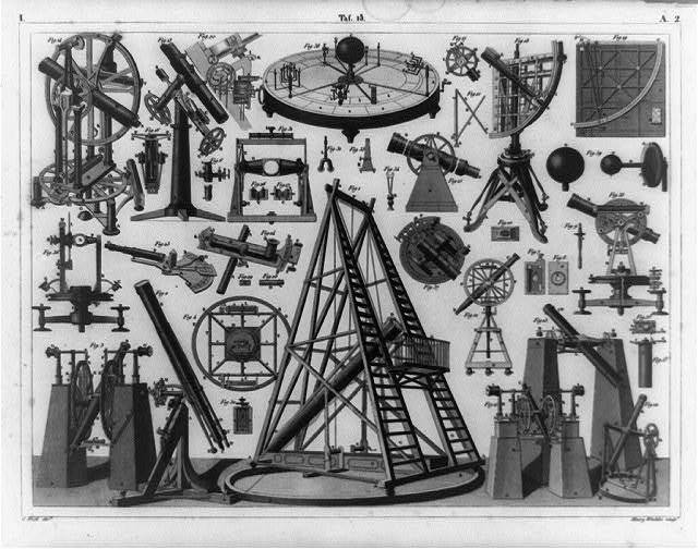 [Composite of astronomy equipment and components] / Henry Winkles sculpt.