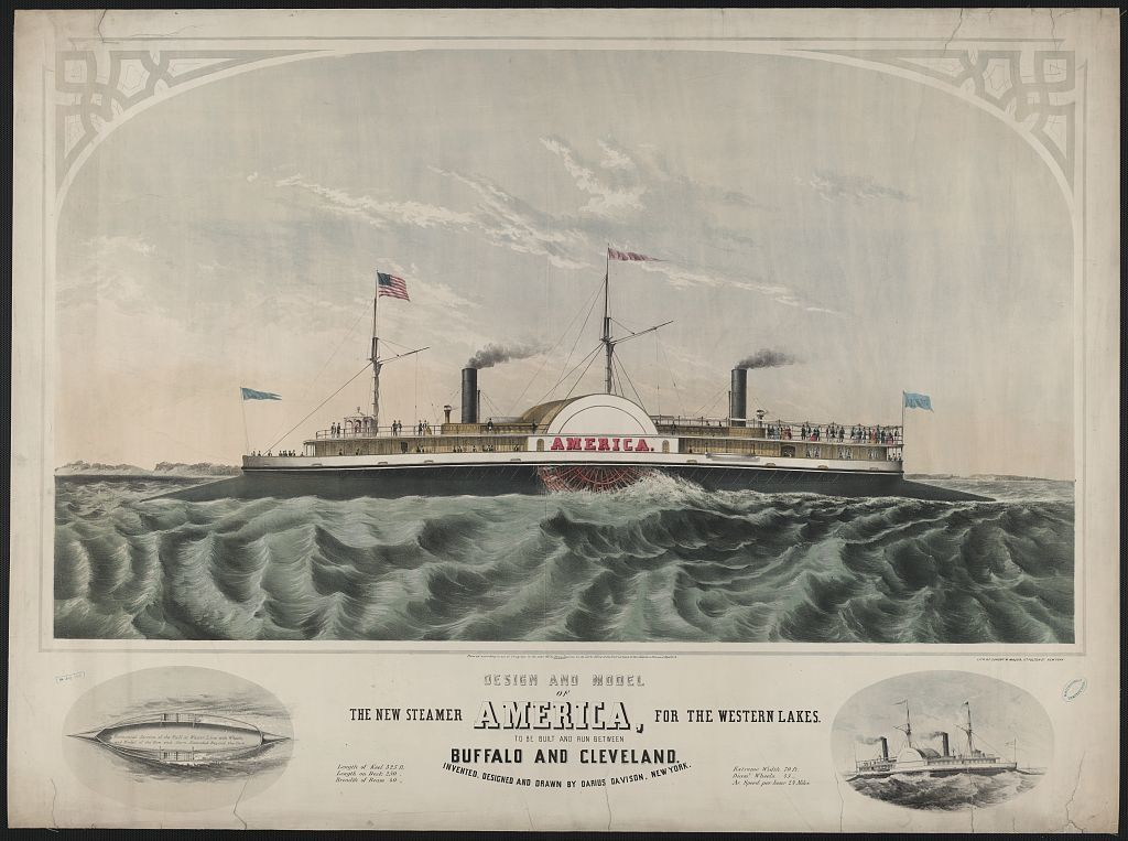 Design and model of the new steamer America, for the western lakes